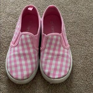 Pink and White Checkered Girls Shoes Size 11